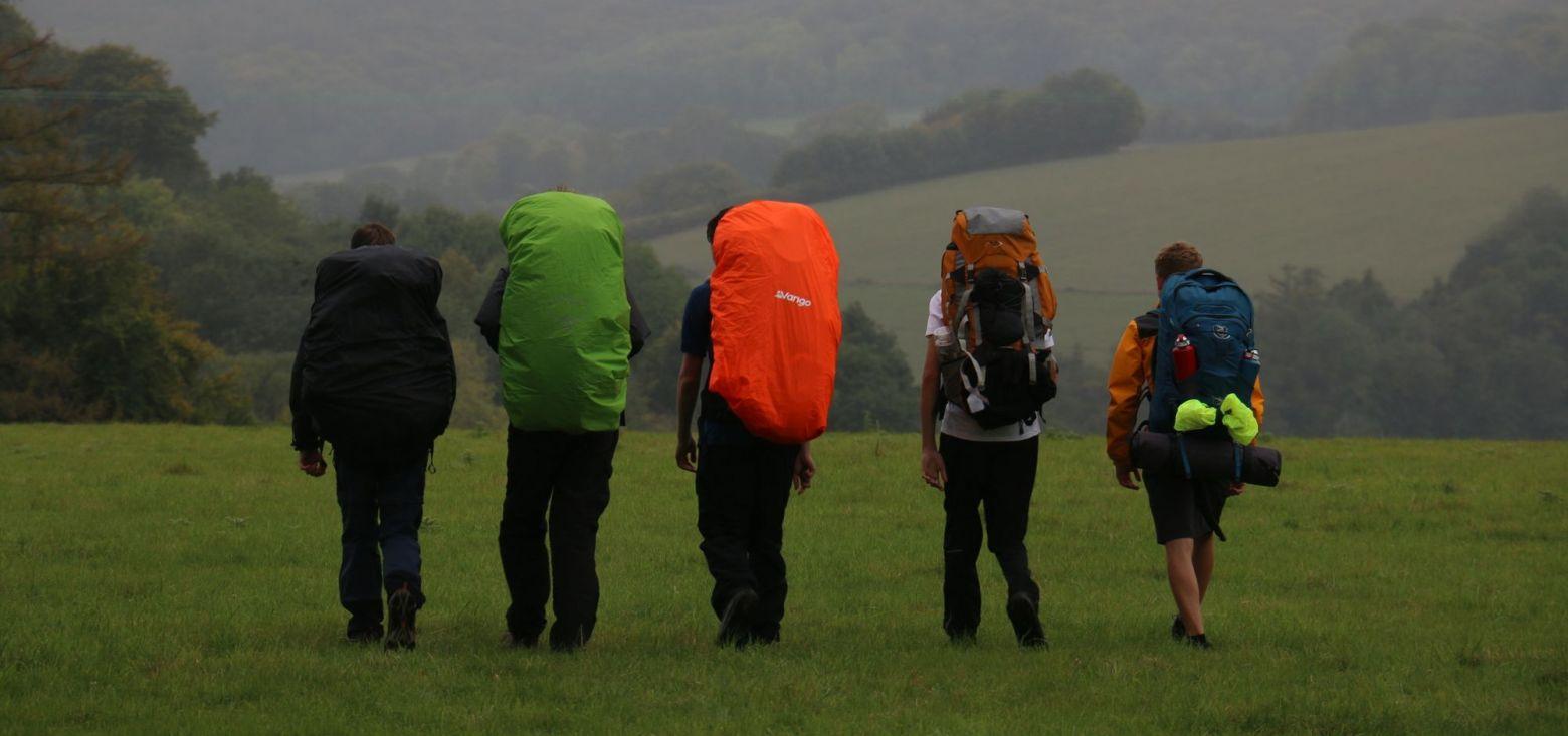 school children with back packs