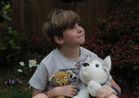 young boy holding two toy animals