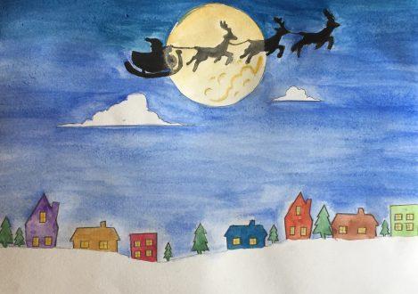 Christmas Card Design santa moon