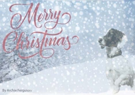 Christmas Card Design dog in snow