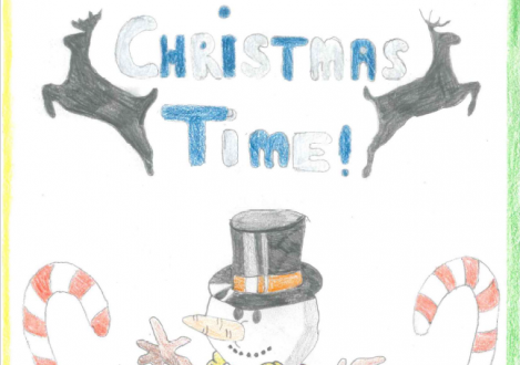 Christmas card design snowman Halliford School