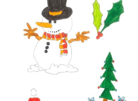 Christmas card design snowman