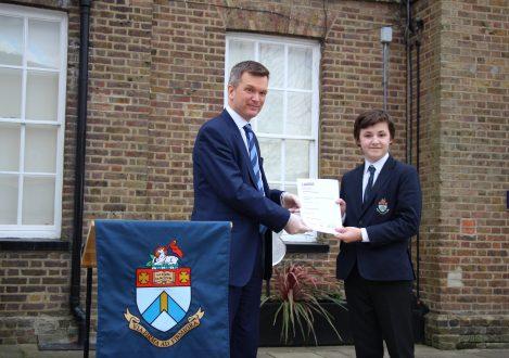 Halliford School pupil presented with LAMDA Examination certificate